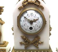 Incredible French White Marble Mantel Clock French 8-day Timepiece Garniture Clock Set (3 of 13)