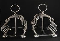 Pair of Antique Walker & Hall 7 Bar silver Plated Toast Racks (4 of 6)