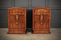 Stunning Pair of Large Figured Walnut Art Deco Bedside Chests (4 of 12)
