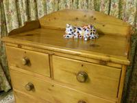 Victorian Stripped Pine Chest of Drawers with Shaped Upstand & Wooden Knobs (2 of 8)
