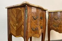 French Marquetry Bedside Tables Cabinets With Marble Tops Louis XVI Bombe Style (6 of 10)