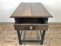 Antique Oak Side Table with Drawer (9 of 11)