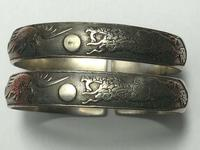 Pair Chinese Republic Silver Plate Bracelet Bangles Dragons Fenghuang Phoenix (2 of 12)