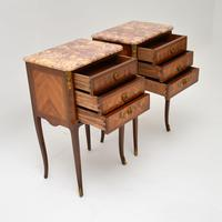Pair of Antique French Inlaid Marble Top Bedside Chests (6 of 12)