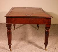 Writing Table/ Desk with 3 Drawers in Burl Walnut & Mahogany - 19th Century (6 of 10)