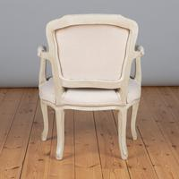Pair of Large French Louis XV Style Painted Upholstered Armchairs (9 of 9)