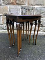 Antique Nest of 3 Figured Walnut Tables (7 of 7)