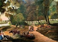 Huge Fabulous 19thc Continental Farming Country Landscape Oil Painting (9 of 19)