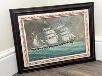 """Edwardian Watercolour """"Champion Of The Seas"""" Ship Black Ball Line Off Cape of Good Hope Signed Pierhead Artist Williams (37 of 39)"""