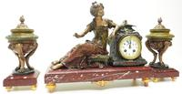 Wonderful French Figural Mantel Clock Lady Reclining 8 Day Mantle Clock with side Urns (11 of 12)