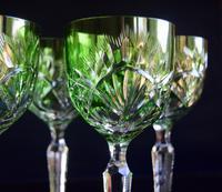 5 Green Hock Glasses Bohemian 1960 (3 of 5)