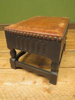 Small Vintage Wooden Black Painted Foot Stool with Brown Leather Top (9 of 17)