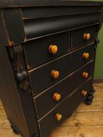 Antique Painted Black Chest of Drawers, Gothic Shabby Chic (5 of 14)