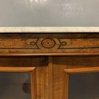 English burr walnut Credenza with Carrara marble top (6 of 10)