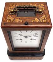 Fine French Officers 8-day Mantel Clock – Rosewood Case With Satinwood Inlay (6 of 13)