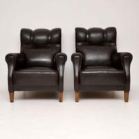 Pair of Antique Swedish Leather Armchairs (3 of 10)
