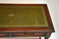 Antique Leather Top Oak Writing Table / Desk (6 of 10)