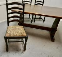 Oak Refectory Table with Set of 4 Chairs (2 of 8)