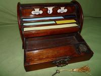 Compact Figured Oak Roll Top Stationery Box. c1900 (8 of 14)