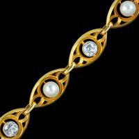 Antique Art Nouveau French Diamond Pearl Bracelet 18ct Gold 3ct Diamond c.1900 (5 of 7)