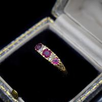 Antique Ruby & Old Cut Diamond 18ct 18K Yellow Gold Scroll Ring (3 of 9)