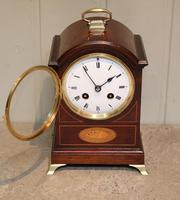 Small Mahogany & Inlay Mantel Clock (5 of 12)
