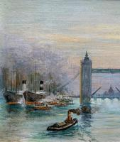Superb Original 1921 View of Tower Bridge London Seascape Oil Painting (4 of 12)