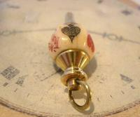 Antique Pocket Watch Chain Fob 1890s Victorian Large Brass & Bone Gambling Fob (7 of 9)