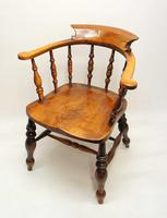 Victorian Smokers Bow or Captains Chair, Elm / Beech - Large Seat, Wide Arms (13 of 13)