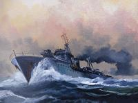 Oil on Board Battle on the Ocean Wave Listed Artist Dion Pears (5 of 12)
