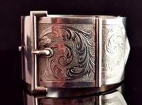 Victorian Silver Cuff Bangle, Wide, Buckle (7 of 11)
