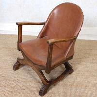 Carved Oak Leather Bucket Sofa & Chair (18 of 24)