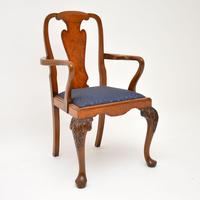 Set of 10 Antique Queen Anne Style Burr Walnut Dining Chairs (2 of 13)