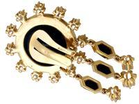 1.40ct Diamond & Onyx, 14ct Yellow Gold Drop Earrings - Art Deco Style - Vintage c.1950 (5 of 9)