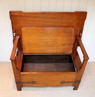 Arts & Crafts Solid Oak Monks Bench (4 of 12)