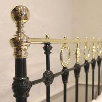 Black Victorian Brass & Iron Bedstead with Brass Circles (4 of 11)