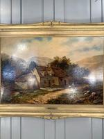 Antique Victorian large landscape oil painting in gilt gesso frame by E Yates (10 of 10)