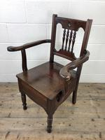 Antique Edwardian Mahogany Commode Armchair (8 of 9)