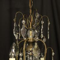 French Gilded Birdcage 5 Light Antique Chandelier (9 of 10)