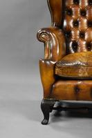 19th Century Victorian Hand Dyed Brown Leather Wing Back Armchair (8 of 9)