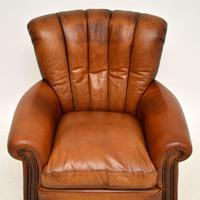Antique French Style Leather  Club  Armchair (3 of 6)