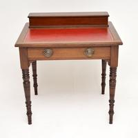 Antique Victorian Mahogany Leather Top Desk / Writing Table (3 of 13)