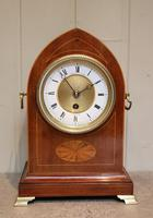 Edwardian Mahogany & Inlay Lancet Top Mantel Clock