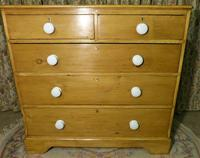 Victorian Stripped Pine Chest with White Porcelain Knobs - Carriage Paid  Most Areas (6 of 7)