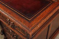 Carved Oak Pedestal Desk (13 of 19)