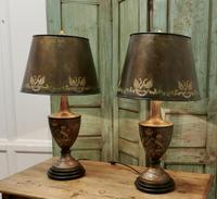 A Pair of Large Bronze Coloured Toleware Table Lamps (8 of 9)