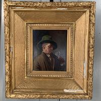 Antique Dutch Oil Painting Portrait of a man drinking ale (8 of 10)