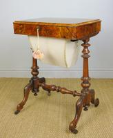 Beautiful Victorian Burr Walnut Sewing Table (3 of 8)