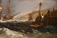 """Oil Painting by William Broome of Ramsgate """"Coastal Shipping"""" (4 of 7)"""