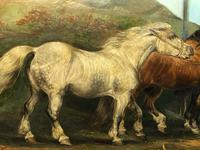 """Victorian 19th Century Oil Painting Horses """"On The Road"""" To Chester Edward Lloyd Ellesmere (25 of 56)"""